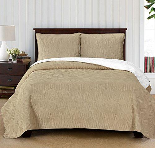 Brielle Honeycomb Reversible Quilt Set, Twin, White/Linen (Linen Quilts)