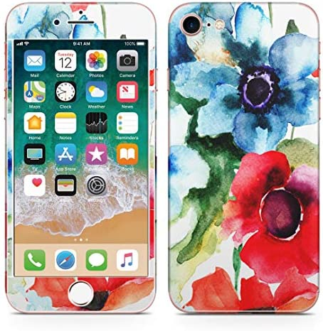 igsticker iPhone SE 2020 iPhone8 iPhone7 専用 スキンシール 全面スキンシール フル 背面 側面 正面 液晶 ステッカー 保護シール 008095 フラワー 花 フラワー 水彩 赤 ブルー レッド