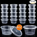 4 ounce container with lid - DOMIRE 40 Pack Slime Containers, Leakproof Clear Plastic Foam Ball Storage Containers with Lids for 4 OZ Slime