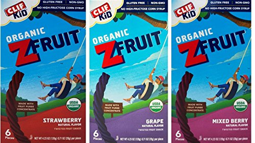 (Clif Kid Organic ZFruit Fruit Rope 3 Flavor Variety Bundle, 1 each: Strawberry, Grape, Mixed Berry (4.23 Ounces))