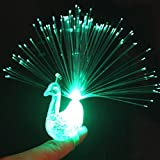 Yimosecoxiang Easy Puzzle Children's Toys 3Pcs Novelty LED Peacock Finger Light Light-up Rings Kids Party Gadgets Toys - Random Color