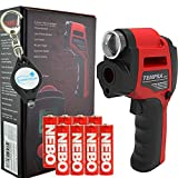 Nebo Tempra 6433 Laser IR Thermometer Zoomable Spotlight with 8 AA Batteries and Lumintrail Keychain Light