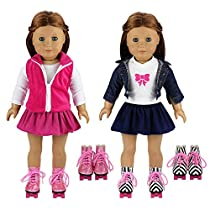 Barwa 2 Sets Outfits Dress Clothes 2 Pair Shoes 18 inch American Girl Doll Xmas Gift