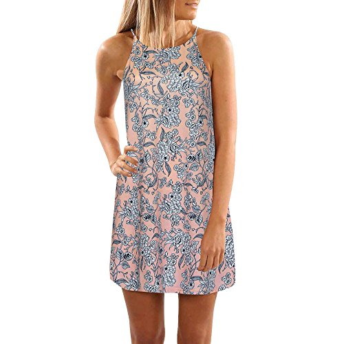 VENMO Mujer verano moda sin mangas de impresión Vestido de playa mini vestido corto Rosa