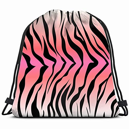 Seamless Tiger Stripe Pattern Animal Print Drawstring Backpack Sports Athletic Gym String Storage Bags