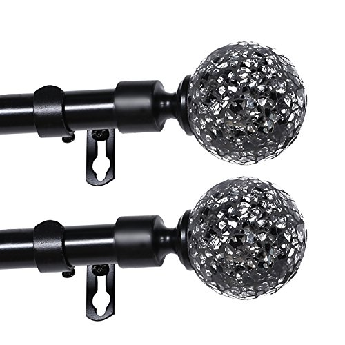 Turquoize Single Window Treatment Rod Mirror Mosaic Ball Adjustable Curtain Rod, 66 to 120 inch, 3/4 - Inch Diameter Decrative Window Rod Set in Black (2 (Ball Curtain Finial)