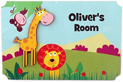 Sign Knight Room - Rikki Knight Oliver's Room - 3D Giraffe on Jungle - Door Sign Plaque with Name for Children and Baby's Bedroom