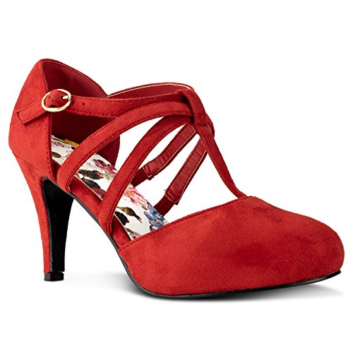 Womens Mid Heel Shoes - RF ROOM OF FASHION Coco-22 Women's Vegan D'Orsay Mary Jane T-Strap Mid Heel Dress Platform Pumps Shoes RED (8)