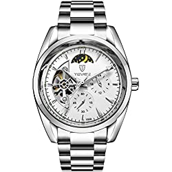 TEVISE Men's Fashion Casual Stainless Steel Automatic Wrist Watch White Dial Silver Band