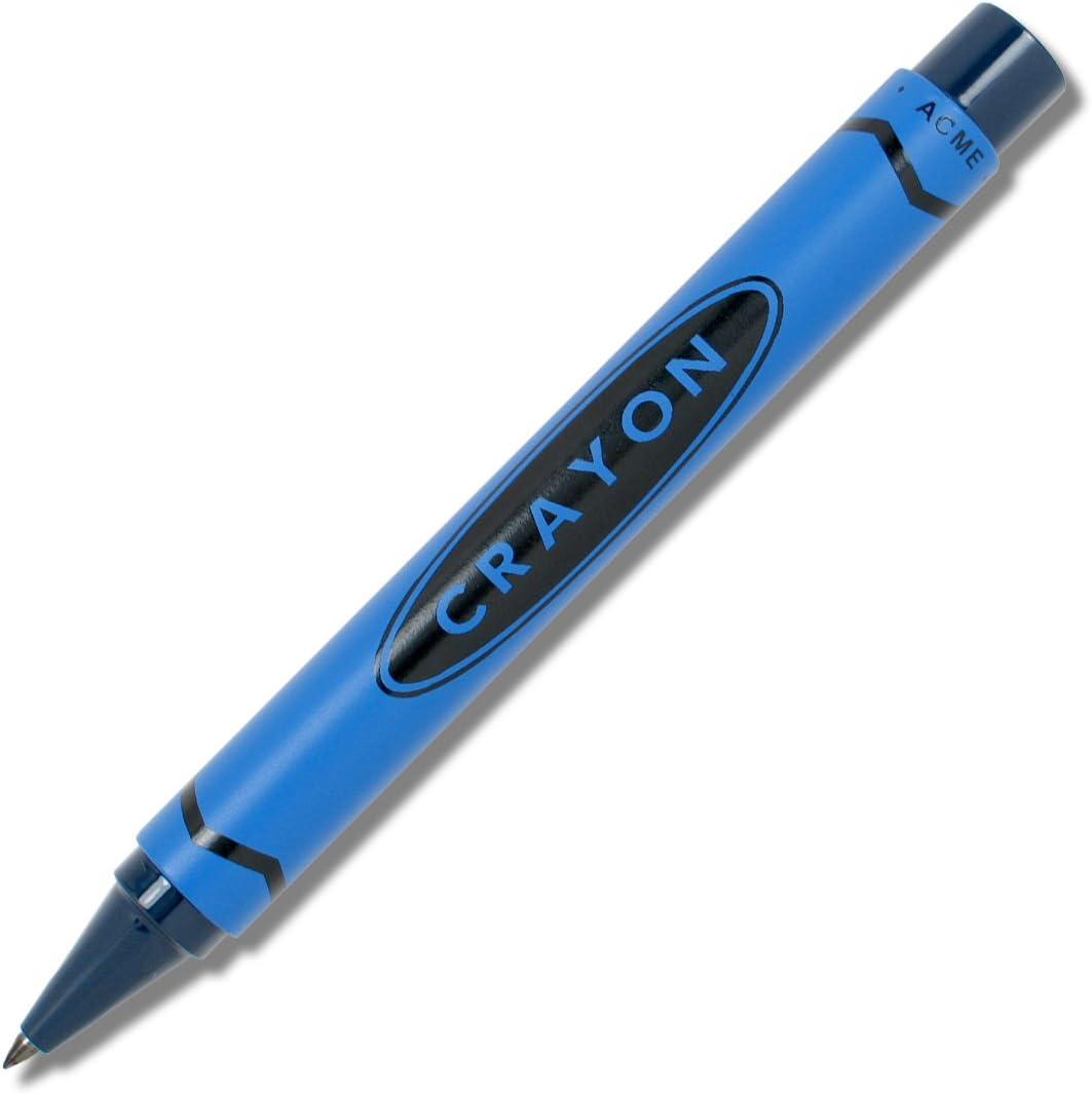 ACME Studios Crayon - Blue Retractable Roller Ball Pen by Adrian Olabuenaga (PACME3BLRR)