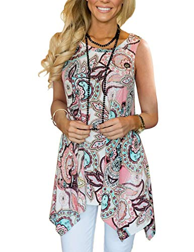- Tanst Women Tank Tops, Ladies Loose Fit Scoop Neck Flowy Sleeveless Dressy Shirts Flare Thin Top Cool Flower Fashion Summer Clothes for Women Wear Beach Pink S