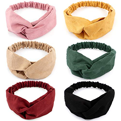 6 Pack Knot Boho Headband for Women Stay Put & Soft Velvet Wide Vintage Hairband Ladies Twist Criss Cross Turban Elastic Head Wrap