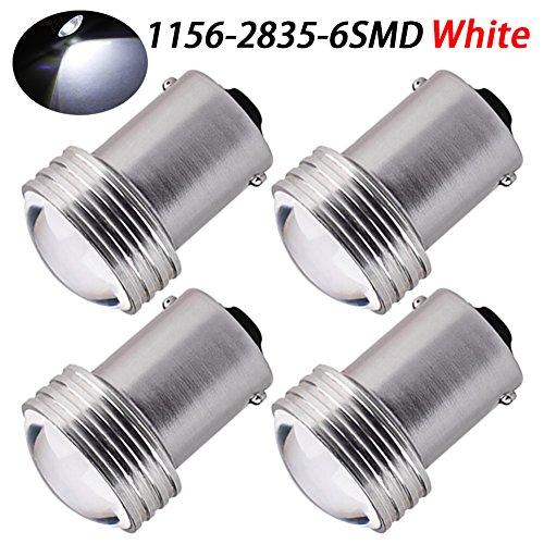Led 16mm Lens - TABEN White 1156 7506 BA15S 6 SMD 2835 Car LED Lens Projector Bulbs Backup Reverse Backup 12V Lights RV Camper Trailer Turn Signal Lights (Pack of 4)