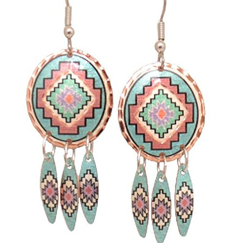 Copper Earrings Southwest Design with Dangles Native American Pattern NEW