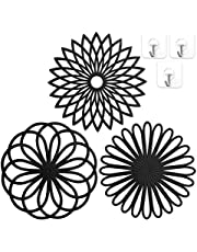 Silicone Trivet Mat Set for Hot Dishes,Pots and Pans,3 Pack Silicone Pot Holders with 3pcs Durable Adhesive Hooks Easy to Hook and Store,Heat Resistant, Non-Slip,Dishwasher Safe (Black)