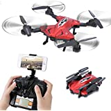 Dwi Dowellin Folding Drone With Camera 720P Live Video WIFI FPV Altitude Hold 2.4G 4CH 6Axis RC Quadcopter Flight Plan Route Setting TK110HW Red