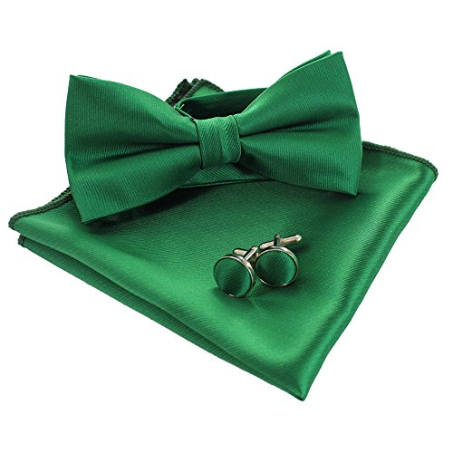JEMYGINS Mens Green Bow Tie Pre-tied Silk Bowtie and Pocket Square Cufflink Set (3) ()