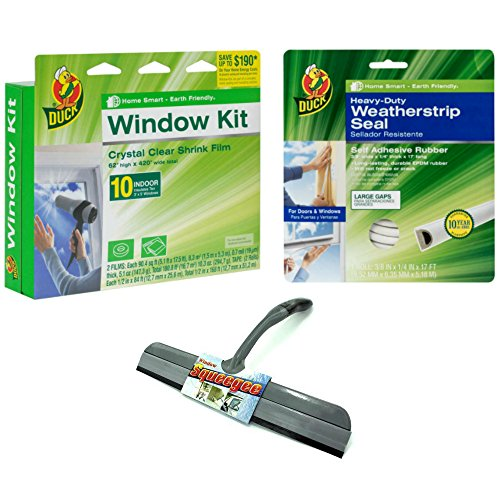 Window Insulation Kit With Weatherstrip Seal and Squeegee Bundle – Includes Insulating Window Shrink Film, Weatherstripping for Doors or Windows, And (Super Foot Warmer Large Rubber)