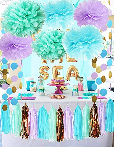 (Mermaid Party Decorations Under The Sea Theme Purple Blue Mint Baby Shower Decorations Tissue Pom Poms First Birthday Decorations Purple Bridal Shower Decorations Mermaid Party Supplies)