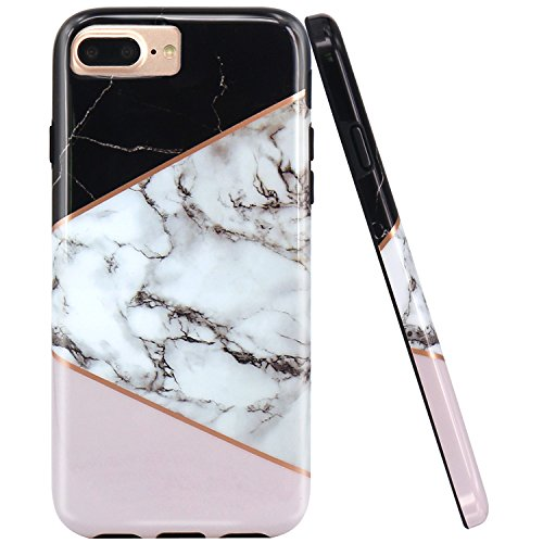 JAHOLAN Geometric Black Pink Marble Design Black Bumper TPU Soft Rubber Silicone Phone Case Compatible with iPhone 7 Plus/8 Plus/6 Plus/6S Plus