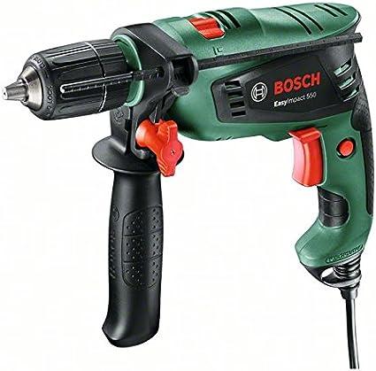 Bosch EasyImpact 550 - Taladro percutor (550 W, empuñadura adicional, tope de profundidad, maletín)