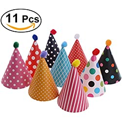 NUOLUX 11pcs Party Hats Lovely Cake Cone Birthday Paper Hats with Pom Poms