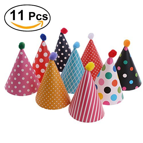 NUOLUX 11pcs Party Hats Lovely Cake Cone Birthday Paper Hats with Pom (Party Celebration Hat)