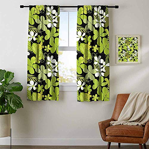 Sage Double Sconce - Mozenou Sage, Curtains Elegant, Fresh Nature Theme Wildflowers Leaves Bloom Foliage Nostalgia Vintage Abstract, Curtains for Kitchen Windows, W54 x L63 Inch Green Black White