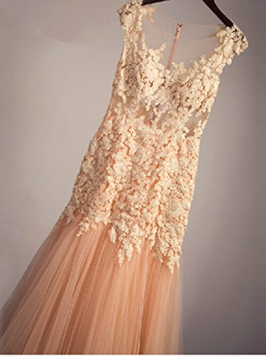 Floral Bridal Lace Mermaid Dresses Jewel Womens Long Neck Annies A5 Tulle Appliques Efp6qnq4