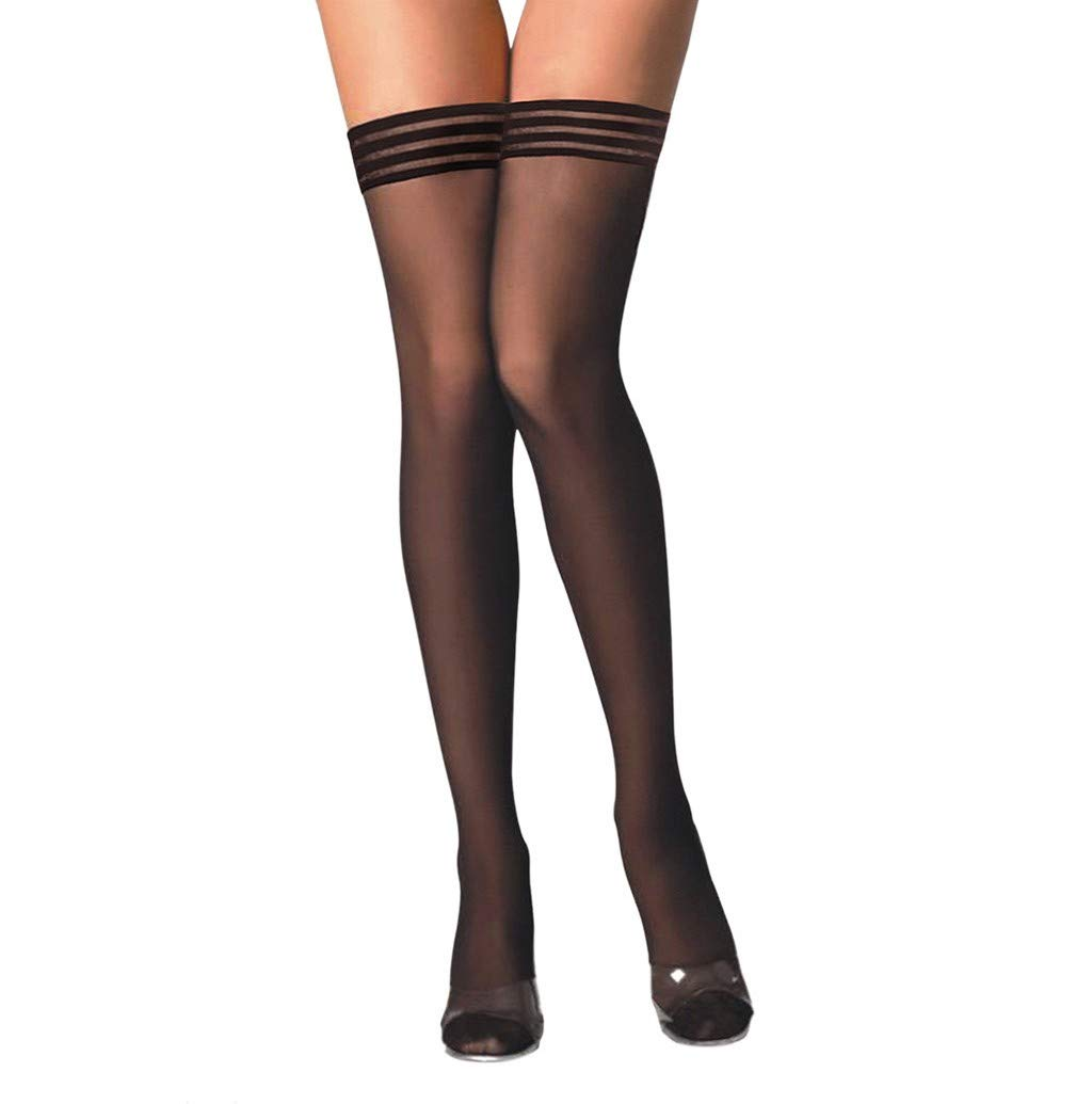 Women Underwear Trim Up Silk Reflections Thigh-High Stockings Mesh Lace with Silicone Lace Top Lingerie JHKUNO D Black