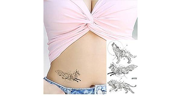 yyyDL Pequeño tatuaje temporal negro pegatina para mujer cuerpo ...