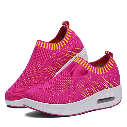 (YYX0422 Women Rocking Shoes Round Head Breathable Wedge Leisure Knit Sports Shoes Platform Wedges Walking Fashion Sneakers Slip On Pink 8.5)
