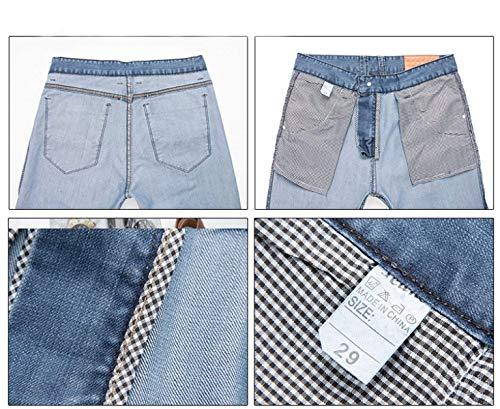 Denim Media Da Fit A Uomo Retrò Pantaloni Casual Jeans Vita Blu Dritti Slim Especial R Moda Alta Estilo X6nCPxx