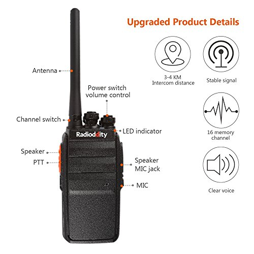Radioddity R2 Advanced Two Way Radio UHF 400-470MHz 16 CH Scrambler VOX Rechargeable Long Range Standby time Walkie Talkies with USB Desktop Charger + Earpiece (Pack of 2) by Radioddity (Image #1)