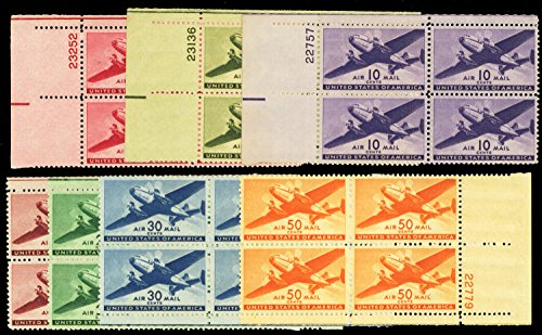 Airmail Plate Block (Classic US Transport Airmail Stamps Complete Set of Plate Number Blocks Mint Never-hinged Scott C25-C31 By USPS)