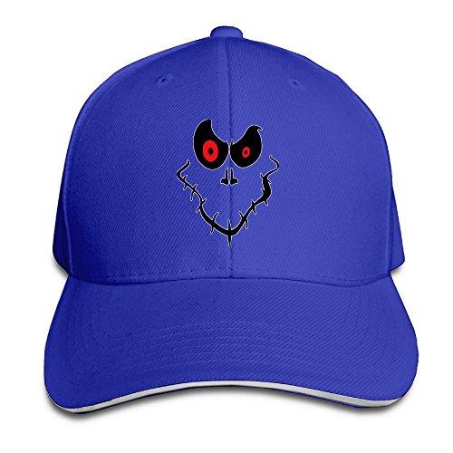 Halloween Ghost Face Unisex Snapback Sandwich Cap (Halloween Face Paint Ideas Ghost)