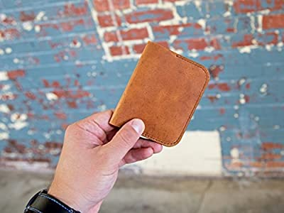 Slim Front Pocket Wallet for Men / Women made of Horween Dublin Leather of Natural Color, Skinny Leather Credit Card Wallet, Men's Minimalist Card Holder