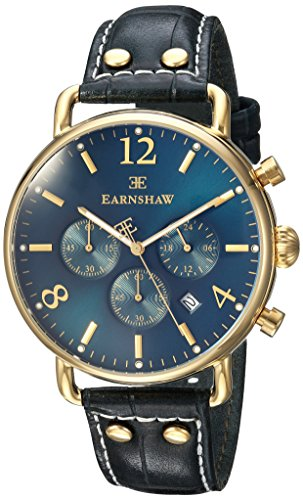Thomas Earnshaw Men's 'Investigator' Quartz Stainless Steel and Leather Dress Watch, Color Green (Model: ES-8001-06)