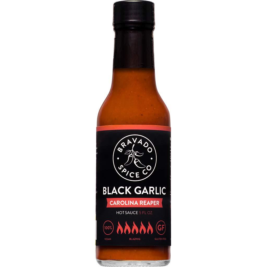 Black Garlic And Carolina Reaper Hot Sauce By Bravado Spice FEATURED ON HOT ONES Gluten Free, Vegan, Low Carb, Paleo Hot Sauce All Natural 5 oz Hot Sauce Bottle Award Winning Gourmet Hot Sauce