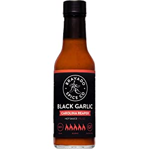 Black Garlic And Carolina Reaper Hot Sauce By Bravado Spice FEATURED ON HOT ONES Gluten Free, Vegan, Low Carb, Paleo Hot Sauce All Natural 5 oz Hot Sauce Bottle Award Winning Gourmet Hot Sauce