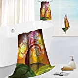 SCOCICI1588 joker bath towel set Colored Mirrors over Tree Branch Clouds Dream Room of Sky Surreal Unusual Highly Absorbent Machine Washable 13.8''x13.8''-11.8''x27.6''-27.6''x55.2''