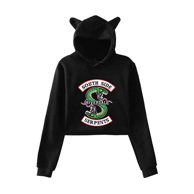 Riverdale South Side Serpents Sudadera con Capucha y Orejas Mujer Moda Swag Pullover Hip Hop Danza Tee Shirt Camiseta Manga Larga Encapuchado Otoño Invierno ...