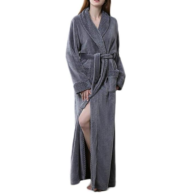 Otoño Invierno Franela Bata Hombres Mujeres Pareja Pijama Largo Baño Batas De Baño Inicio Ropa Casual: Amazon.es: Ropa y accesorios