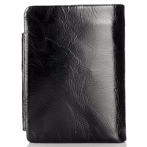 off seventy packs NHGY wax leather leisure zero oil men's black short Leather wallet purse Black percent and wallet OnP8qH6O