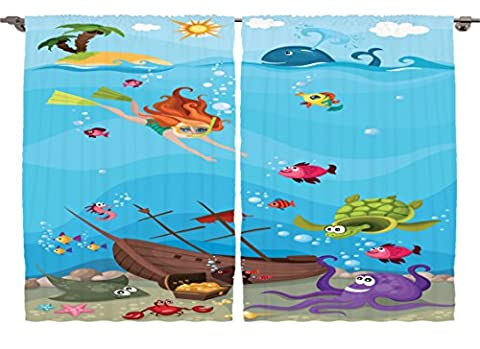 Ambesonne Girls Boys Nursery Nautical Decor Collection, Sea Life Underwater Ocean Beach Crab Diver Whale Octopus Seahorse Art, Window Treatments for Kids Bedroom Curtain 2 Panels Set, 108X63 Inches