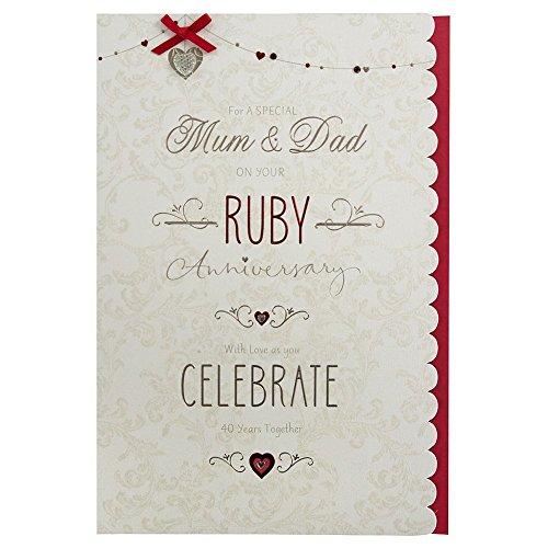 Mum and Dad Ruby (40th) Anniversary Card (Wedding Anniversary Verses For Mum And Dad)