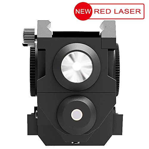 Aurora-Tactical-Red-Laser-Sight-with-Mini-Sub-Compact-Rail-Mount-High-Lumen-CREE-LED-Flashlight-Light-Integrated-Combo-with-Strobe-for-Pistol-Rifle-Handgun-Gun-Black-1-Pack