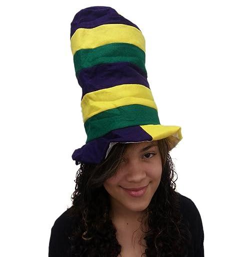 Felt Mardi Gras Chistera - Felt gran tamaño Sombrero Pipe Estufa En azul marino, verde