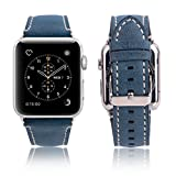 Apple Watch Leather Band 42mm, Mobest Classic Genuine Leather Strap with Stainless Metal Buckle iWatch Replacement with Screw Driver for Apple Watch Series 3/2/1,Sport and Edition-Blue