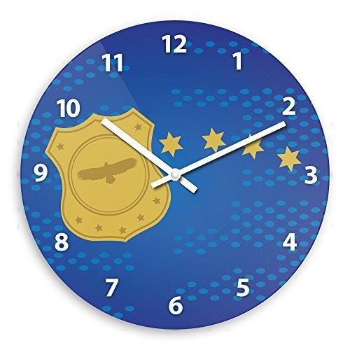 Modern Wood Wall Clock With Officer Motif For Boys Nursery C